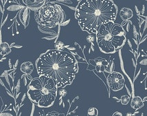 Cotton Jersey Knit - Millie Fleur Line Drawings Fabric - Bluing - Sold by the 1/2 Yard