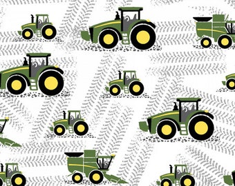 ON SALE!! John Deere - Little Farm Fabric - White - sold by the 1/2 yard
