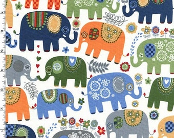 Michael Miller Novelty - Happy Elephants Fabric - Cheer - Sold by the 1/2 Yard