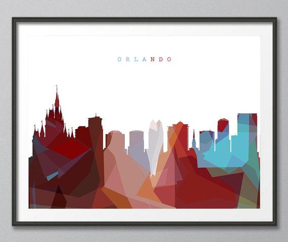 Skyline Print Orlando Skyline Geometric Skyline Print
