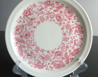 Wellsville China Vintage Restaurant Ware Dinner Plate, White with Red Floral Trim