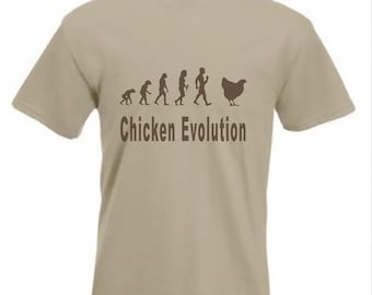 Evolution To Chicken t-shirt Funny Hen T-shirt sizes Sm To 2XXL