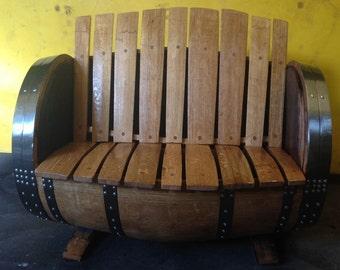 Solid Oak Refurbished Whisky Barrel Garden Bench