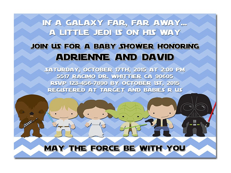 star wars baby shower invitation printable digital by slashshop