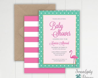 flamingo baby shower invitation pink and mint invitation tropical baby shower invitation pool party invitation