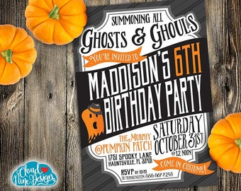 Kids Halloween Birthday Party Invitation-Children's Birthday-PRINTABLE-Personalized Invitation-Ghost-Cute Halloween-3rd,4th,5th,6th Birthday