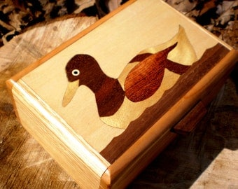 Handcrafted wood inlay duck box-2