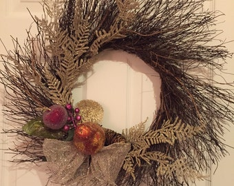 Wreath , Christmas, Door decoration, Grapevine, Holiday Decor