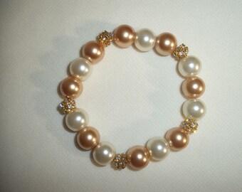 Beaded Bracelet of Gold, Ivory and Rhinestone Spacers - Stretch Bracelet