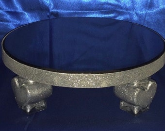 BLING SILVER CAKE Stand Round Heart Glass Accents 22 Shimmer Colors All Sizes