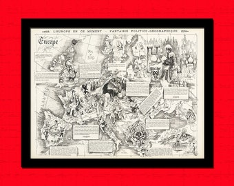 Get 1 Free Print - Map Of Europe 1872 Magazine Cover La Vie Parsienne - Ancient Map Wall Art Antique Map Poster Old Map Print Map Europe Map