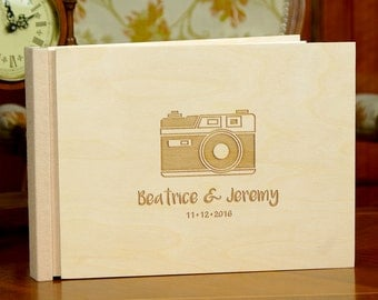 Rustic Engraved Wedding Guest Book Personalized Wooden Wedding Guestbook Custom Wedding Memory Book