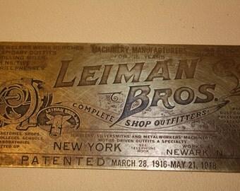 Vintage Leiman Bros.Nameplate