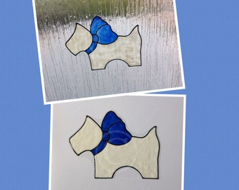 Westie Scottie dog window cling, for glass & window areas, highland terrier faux stained glass reusable decal, Westie static decals