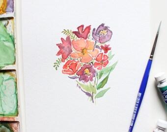 Wildflower Bunch - 5 x 7 original watercolor