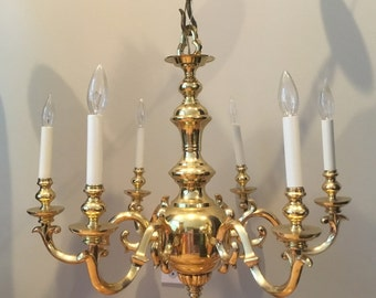 Frederick Cooper Brass Chandelier Colonial Traditional Ceiling Lamp