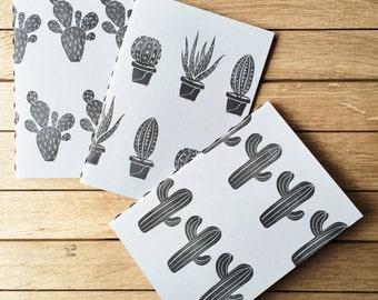 "3 Handmade Notebooks ""Cactus pattern"""