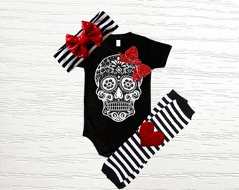 Black, White, & Red Sugar Skull Bodysuit with Matching Leg warmers and Sequin Bow Headband Set- 3 piece set, newborn, toddler, infant