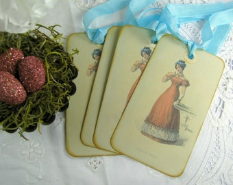 Jane Austen Gift Tags, Regency Gift Tags, Vintage Style Tags, Jane Austen Tags, Stationery, Gift Packaging, Jane Austen Paper Goods