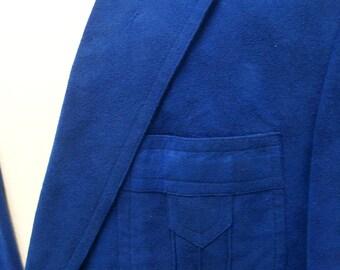 custom made royal blue ultrasuede men's blazer 1970's 42R