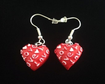 No.311 Red And White Heart Earrings