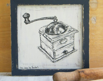 Framed print, Antique coffee grinder, Kitchen decor, Shabby chic, Rustic style, Framed art, Rustic art