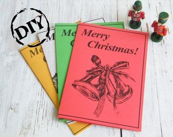 Christmas greeting card, Jingle bells, Christmas clipart, Holidays print, DIY, Digital card, Free gift