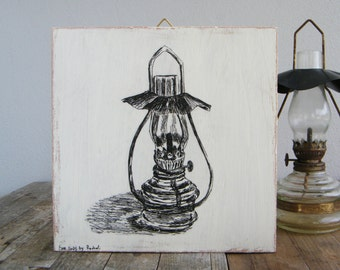 Print on wood, Antique oil lamp print, Rustic wall sign, Lantern illustration, Kitchen decor, Retro decor, Hostess gift