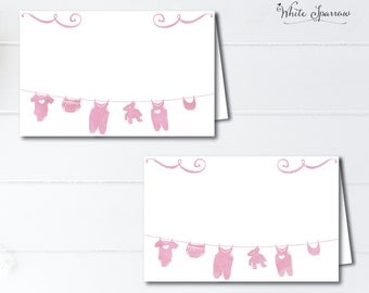 Baby Shower Food Tent Cards. Baby shower, Place cards. Girl Baby Shower Decorations. Pink Baby Shower. Watercolor Baby Shower. Food labels