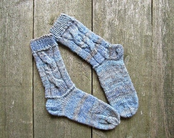 Hand Knit socks Wool knit socks Blue Knitted socks Womens socks Traditional socks Ladies socks Christmas gifts idea for her Gift under