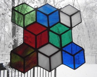 Stained glass suncatcher, colorful cubes 7.5 x 7