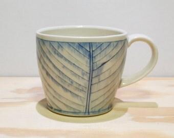 Blue & White Herringbone Cup