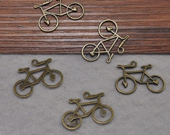 20pcs Antique Bronze Metal Bike  Charm,Bicycle Jewelry Making Findings, 30x22mm