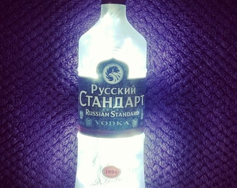 Upcycled Russian Standard vodka bottle lamp - home, office, bar, man cave ... ANYWHERE