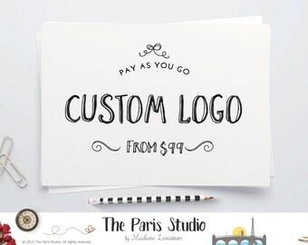 Premade logo design Vintage Chalkboard logo watercolor circle logo typographic logo design restaurant logo jewelry boutique branding website