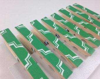 Green Clothespins, Decorative Clothespins, Teacher Gift, College Dorm, Cute Desk Accessories, Office
