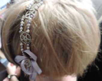 """Headband steampunk """"Belle Epoque"""" - silver"""