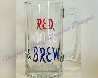 Red White & Brew, Dad Beer Mug, Personalized Gift, Glass Beer Mug Stein, Gift for Him, Father's Day Gift, Beer Lovers Mug, 4th of July