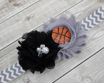 Spurs baby headband, Basketball bow, Nets baby headband, black and gray headband, black and silver headband