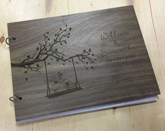 Wood Guest Book, Unique Wedding Guestbooks, Rustic Wedding Guest Book Alternative, Love Birds Guest Book  - Engraved & Personalized For You!