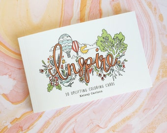 Inspire: 36 Uplifting Coloring Cards Book by Kelsey Carlson