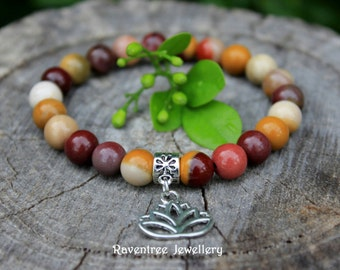 Mookaite bracelet with Lotus flower charm.