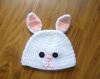 bunny hat/ bunny ears beanie/ crochet bunny cap/ bunny beanie/ baby beanie/ baby cap/ crochet baby hat/ animal hat/ easter bunny
