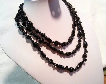 Black Glass 3-Strand Bead Necklace