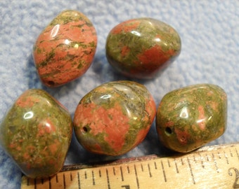 Unakite Beads! 5 large free form beads (coral and jade colored!!)