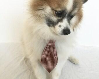 Maroon Gingham Pet Necktie, Dog/Cat Tie