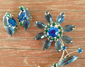 Juliana D&E Montana Blue, Caribbean Blue and Green Flower and Earring Set