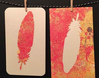 Feather Card with handmade envelope