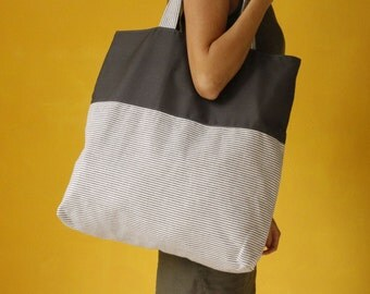 Big Canvas Bag, Navy Blue and White Striped Bag, Large Beach Bag, Oversize Canvas Tote