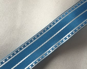 Vintage Blue and White Ribbon, Dotted Stripe Ribbon, Vintage Ribbon, Polka Dot Ribbon, Rayon Ribbon